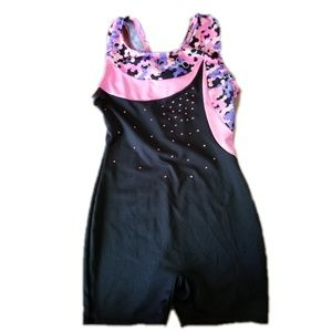 Girls pink and black gymnastics outfit size 7/8